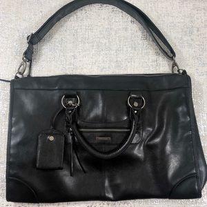 "Victorias Secret Black Leather 20"" Weekender Bag"